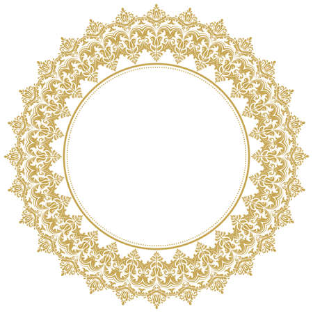 Elegant vintage vector ornament in classic style. Abstract traditional round golden pattern with oriental elements. Classic vintage pattern Stock Illustratie