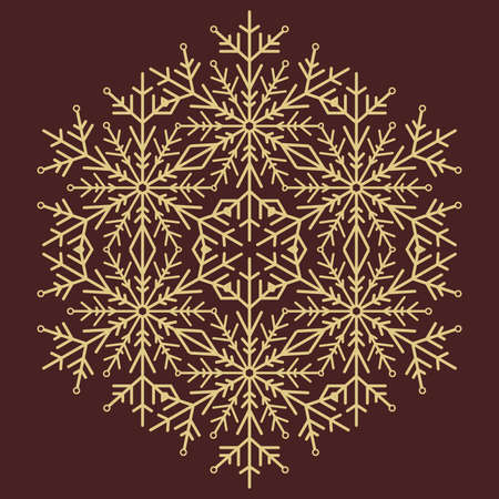 Round vector snowflake. Abstract winter golden ornament. Golden round snowflake
