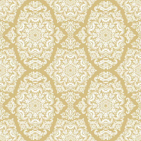 Orient vector classic pattern. Seamless abstract background with golden and white vintage elements. Orient background. Ornament for wallpaper and packaging