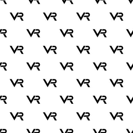 Seamless black and white pattern with VR logos. Virtual reality logos