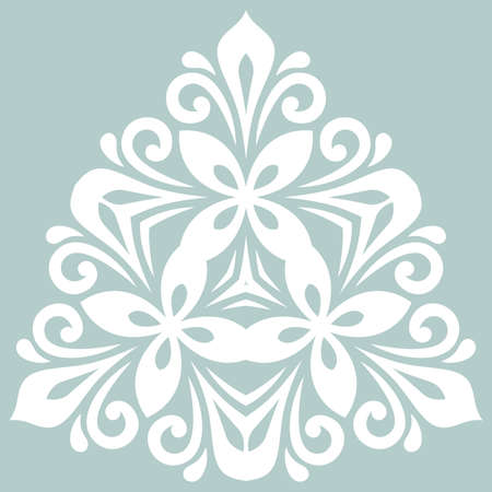 Oriental triangular white pattern with arabesques and floral elements. Traditional classic ornament. Vintage pattern with arabesques Stockfoto