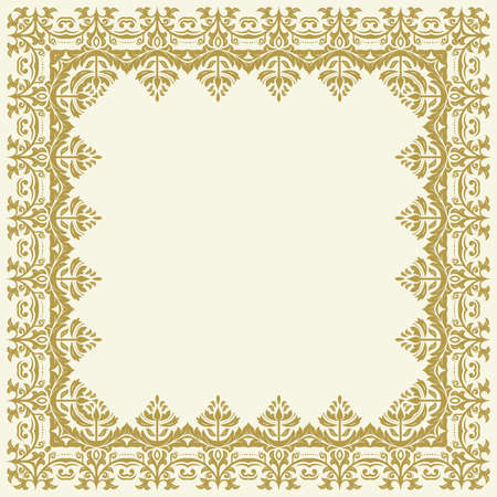 Classic square frame with arabesques and orient golden elements. Abstract ornament with place for text. Vintage pattern Stockfoto