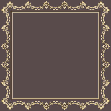 Classic square frame with golden arabesques and orient elements. Abstract ornament with place for text. Vintage pattern