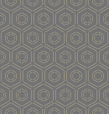 Geometric repeating ornament with hexagonal dotted golden elements. Geometric modern ornament. Seamless abstract modern pattern