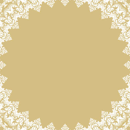 Oriental round frame with arabesques and floral elements. Floral white border with vintage pattern. Greeting card with place for text