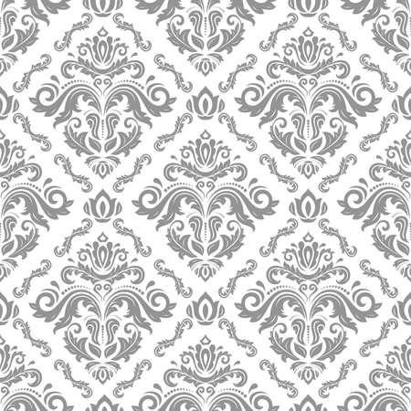 Classic seamless pattern. Damask orient ornament. Classic vintage background. Orient light silver ornament for fabric, wallpaper and packaging