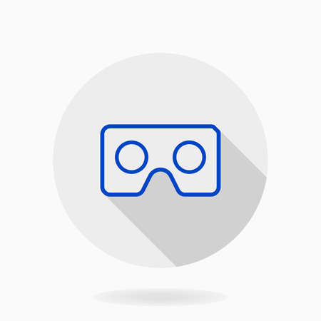 Fine icon with blue VR logo in circle. Flat design with long shadow. Virtual reality logo