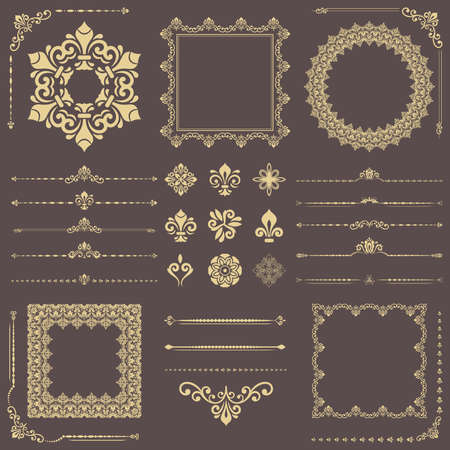 Vintage set of vector horizontal, square and round elements. Golden elements for backgrounds, frames and monograms. Classic patterns. Set of vintage patterns