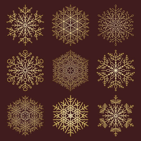 Set of vector snowflakes. Golden winter ornaments. Snowflakes collection. Snowflakes for backgrounds and designs