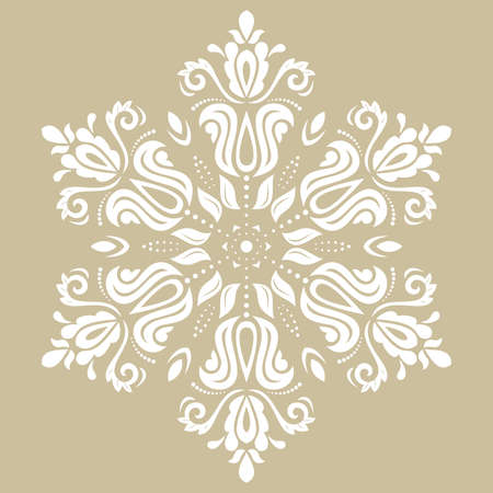Oriental vector pattern with arabesques and floral elements. Traditional classic ornament. Vintage round white pattern with arabesques