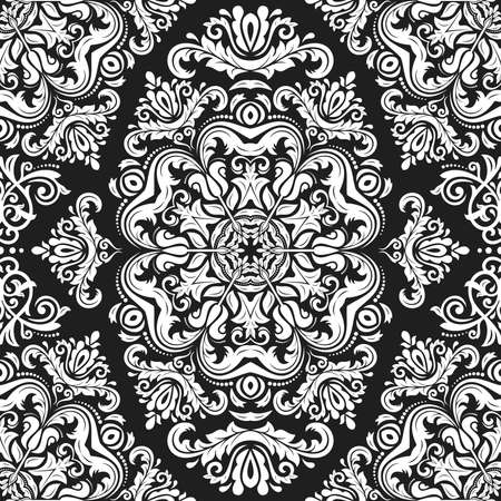 Classic seamless vector black and white pattern. Damask orient ornament. Classic vintage background. Orient ornament for fabric, wallpaper and packaging Stock Illustratie