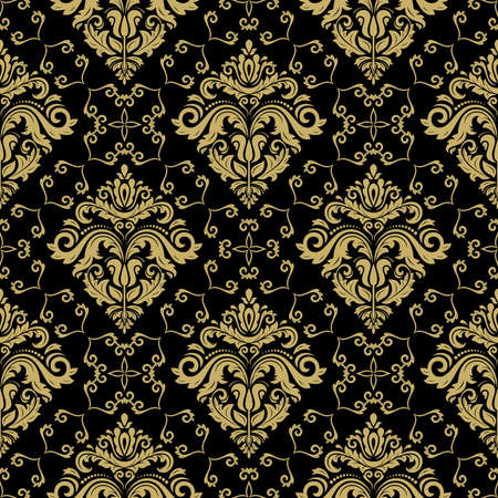 Seamless wallpaper in the style of baroque. Traditional vector pattern. Classic oriental black and golden background