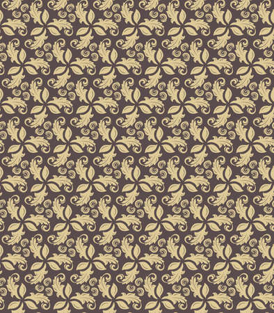 Floral vector ornament. Seamless abstract classic fine pattern. Brown and golden wallpaper Stock Illustratie