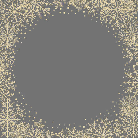 Winter vector frame with arabesques and snowflakes. Gray and golden greeting card. Pattern with snowflakes