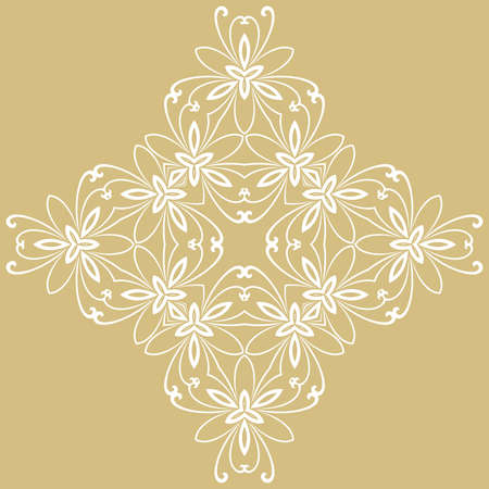 Floral vector pattern with arabesques. Abstract oriental golden and white ornament. Vintage classic pattern