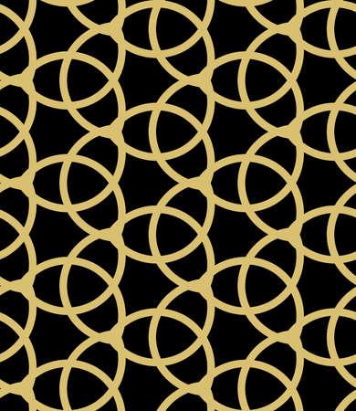 Seamless vector ornament. Modern background. Geometric modern black and golden pattern