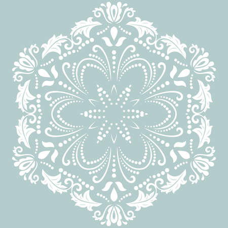 Oriental vector pattern with arabesques and floral elements. Traditional classic round light blue and white ornament. Vintage pattern with arabesques