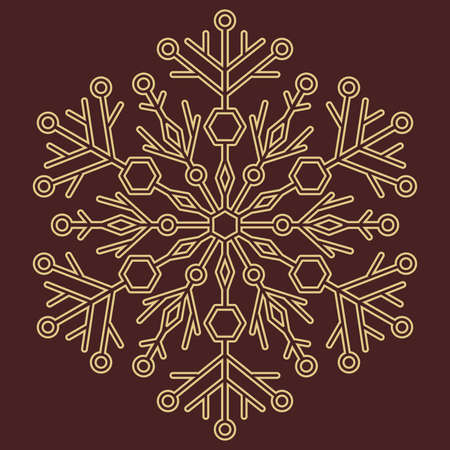 Round snowflake. Abstract winter ornament. Golden snowflake
