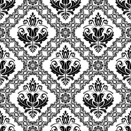 Orient classic pattern. Seamless abstract black and white background with vintage elements. Orient background. Ornament for wallpaper and packaging