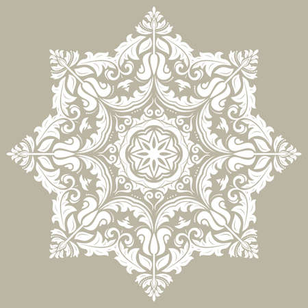 Oriental pattern with arabesques and floral elements. Traditional classic round white ornament. Vintage pattern with arabesques