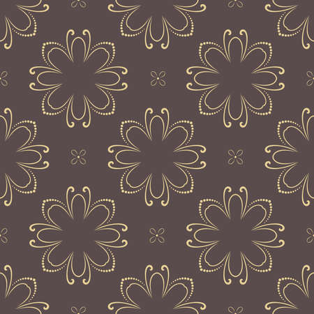 Floral vector ornament. Seamless abstract classic background with flowers. Pattern with repeating floral elements. Golden ornament