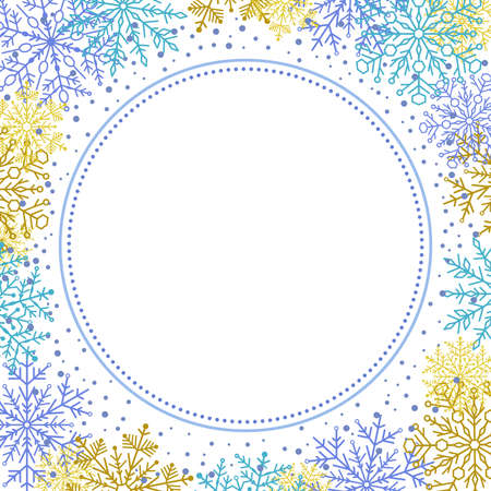 Nice vector card for holiday with blue and golden snowfall arabesques and snowflakes. Fine greeting card. Pattern with snowflakes Stock Illustratie