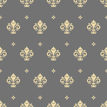 Seamless vector pattern. Modern geometric ornament with golden royal lilies. Classic golden vintage background