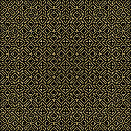 Seamless background for your designs. Modern vector black and golden ornament. Geometric abstract pattern
