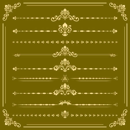 Vintage set of vector golden elements. Horizontal separators in the frame. Collection of different ornaments. Classic golden patterns. Set of vintage patterns