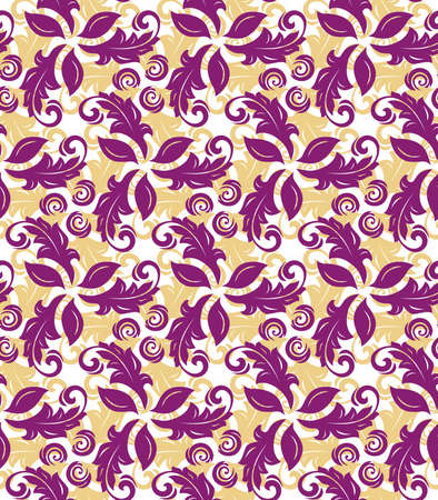 Colored vector ornament. Seamless abstract classic background with purple and golden leaves. Pattern with repeating floral elements. Ornament for fabric, wallpaper and packaging Stock Illustratie