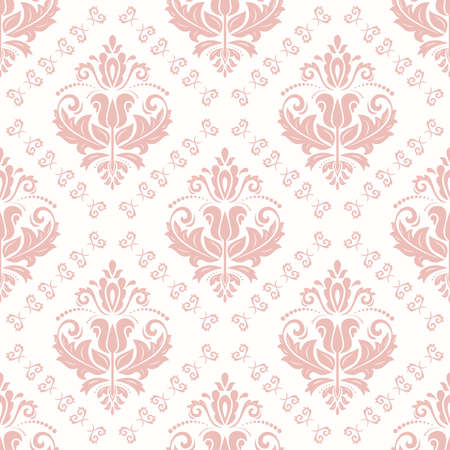 Classic seamless vector pattern. Damask orient pink ornament. Classic vintage background. Orient ornament for fabric, wallpaper and packaging Stock Illustratie