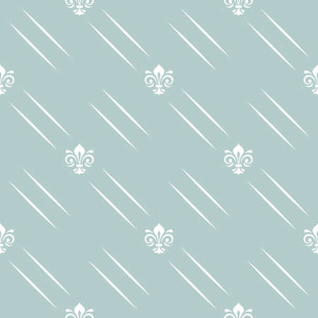Seamless vector pattern. Modern geometric ornament with white royal lilies and diagonal lines. Classic vintage background Stock Illustratie