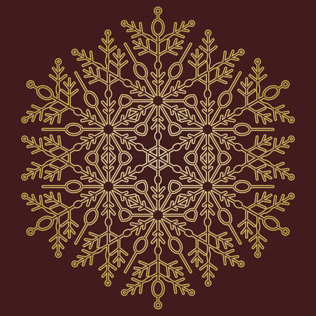 Round vector snowflake. Abstract winter ornament. Round golden snowflake