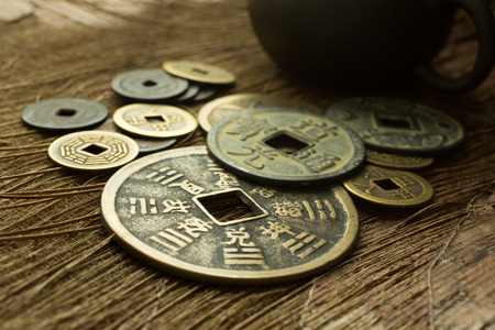 ascendant: Old Chinese coin Stock Photo
