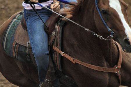 Horse and Rider in the heat of barrel racing