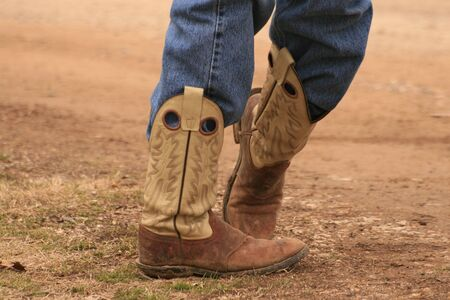 cowboy boots: Cowboy, boots and jeans Stock Photo