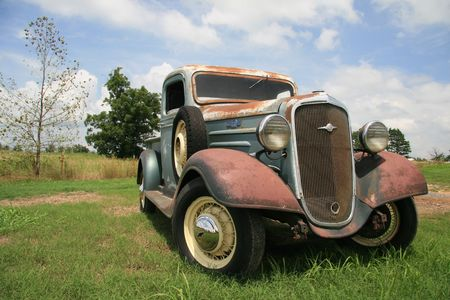 Antique pickup truck Stock Photo