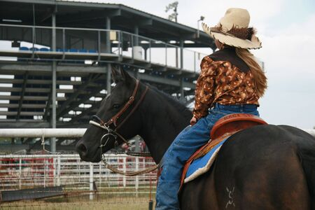 Rodeos, horses and cowgirls Stock Photo