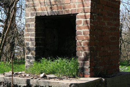 outdoor fireplace: Only the fireplace is left standing