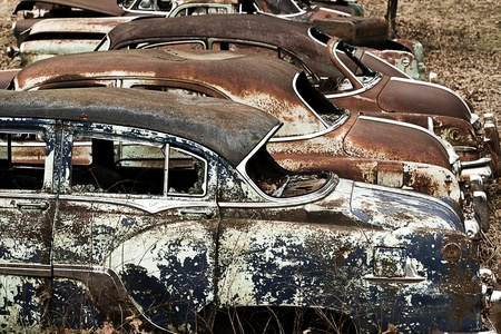 abandoned car: Junkyard vintage automobiles