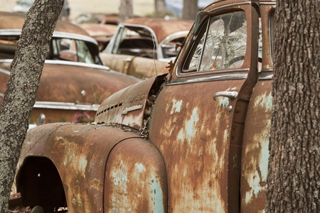 junk car: Vintage salvage yard Stock Photo