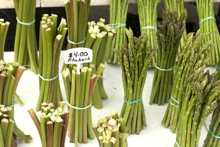 rheum: Bunches of rhubarb and asparagus
