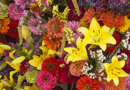 Lilies and zinnia floral bouquets  Stock Photo