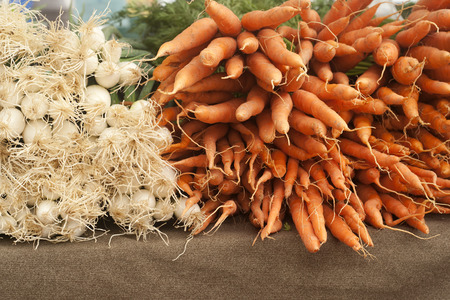 Bundles of onions and orange carrots Stock Photo