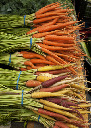 offered: Colorful carrots offered at the farmers market