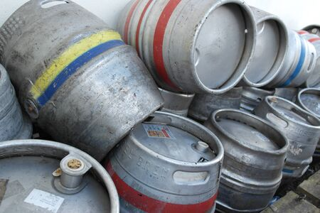 kegs: Empty Beer Barrels   kegs stacked up for collection Stock Photo