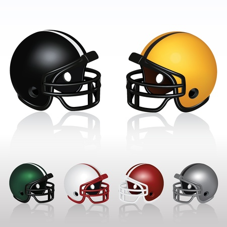 equipment: Set of Football Helmets Illustration