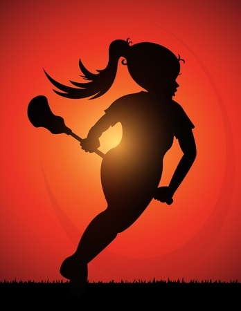Silhouette of Girls Lacrosse Player