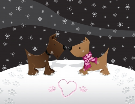 Puppies in Love   in the Snow Illustration