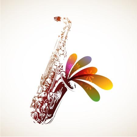 saxofón: Sax Colorful Vectores